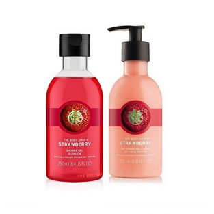 The Body Shop Strawberry Shower Gel and Body Lotion Both 250 ml for Normal To Dry Skin